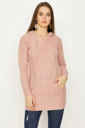 NUDE CABLE DETAIL HOODED TUNIC