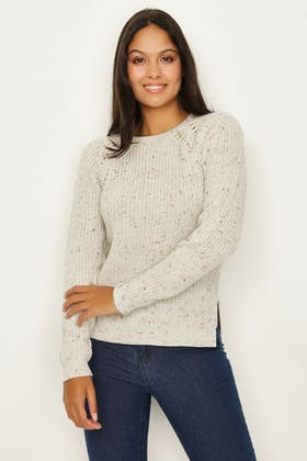 OATMEAL FASHIONING AND NEP DETAIL JUMPER
