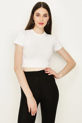OPTIC WHITE BASIC FITTED CROP TEE