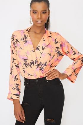 ORANGE Satin Floral Wrap Bodysuit