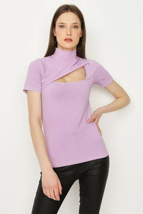 ORCHID RIBBED CUT OUT TOP