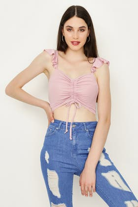 ORCHID RUFFLE SHOULDER RUCHED FRONT CROP TOP