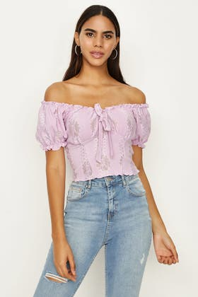 ORCHID TEXTURED FLORAL SHIRRED TOP