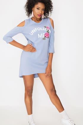 PALE BLUE COLD SHOULDER EMB SWEAT DRESS