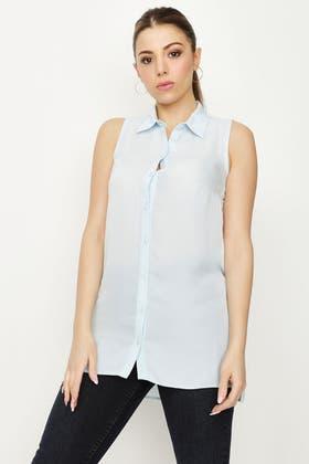 PALE BLUE LONGLINE SLESS LOTUS SHIRT