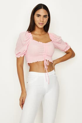 PINK ALL OVER SHIRRED RUCHED BLOUSE