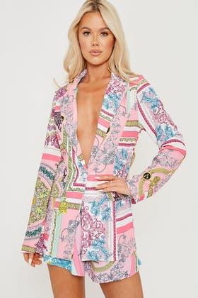 PINK Baroque Printed Blazer Jacket