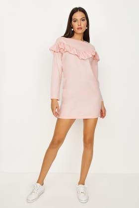 PINK BROIDERY FRILL SWEAT DRESS