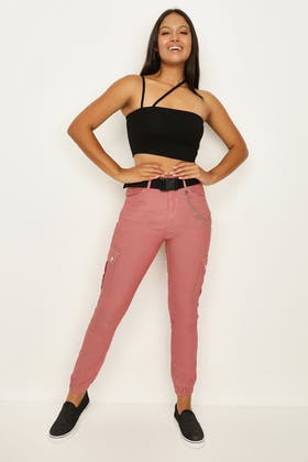 PINK CHAIN CARGO TROUSER WITH BELT