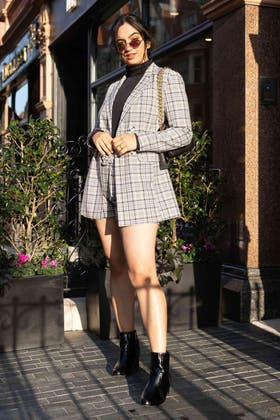 PINK CHECK BELTED TAILORED JACKET