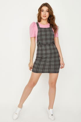 PINK PINK CHECK PUFF SLV 2 IN 1 DRESS
