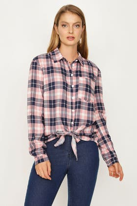 PINK CHECK TIE FRONT SHIRT