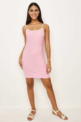 PINK CONTRAST STRAPPY BODYCON DRESS