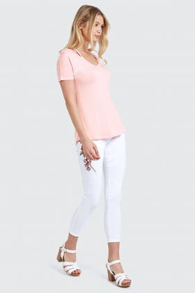 BALLET PINK CUT OUT NECK V TEE