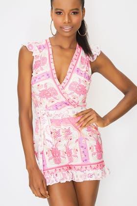 PINK Floral Print Wrap Front Playsuit