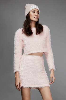 PINK FLUFFY CUT AND SEW JUMPER
