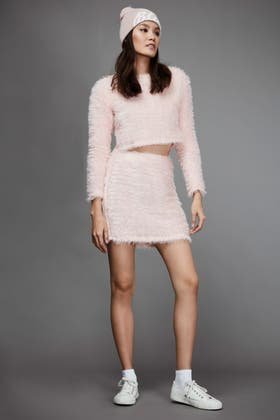 PINK FLUFFY CUT AND SEW SKIRT