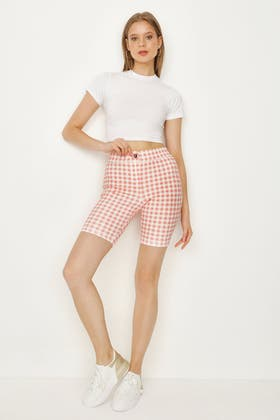 PINK GINGHAM JEGGING CYCLING SHORT