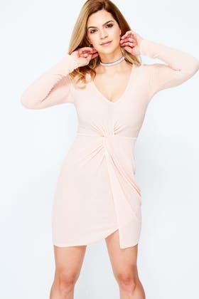 PINK GLITTER TWIST FRONT BODYCON DRESS
