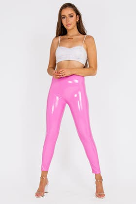 PINK High Waisted PU Wet look Trousers