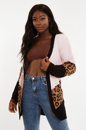PINK Knitted Leopard Cardigan
