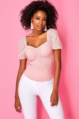 PINK-SORBET LACE SWEETHEART PUFF SLEEVE TOP