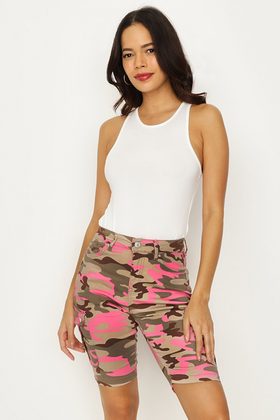 PINK-MULTI CAMO CYCLE SHORT