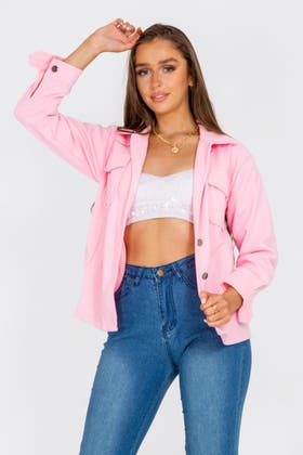 PINK Pocket Shacket Jacket