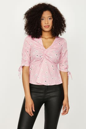 PINK POLKA DOT DITSY ROUCHED FRONT TOP