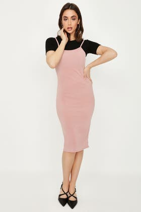 PINK RIBBED 2 IN 1 BODYCON DRESS
