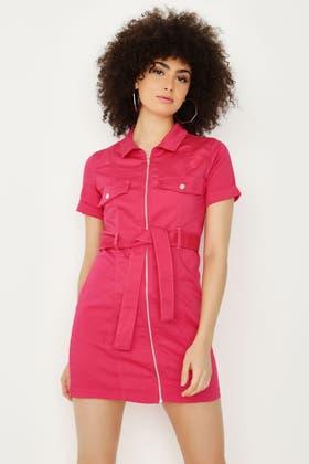 PINK SHORT SLEEVE UTILITY DRESS