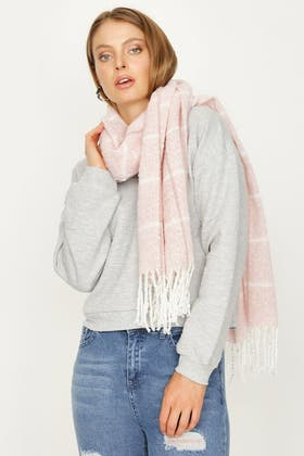 PINK SMALL CHECK LUREX SCARF