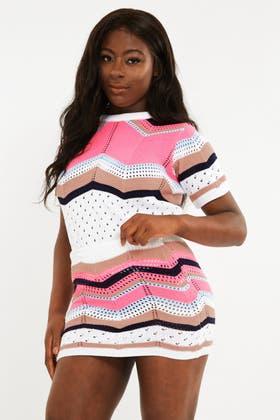 PINK Stripe Chevron Stich Jumper and Skirt Set