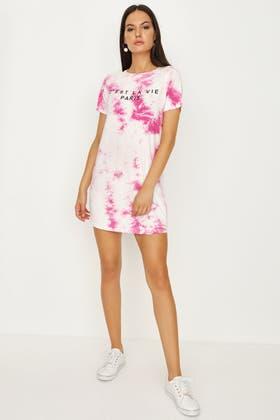 PINK TIE DYE T-SHIRT DRESS