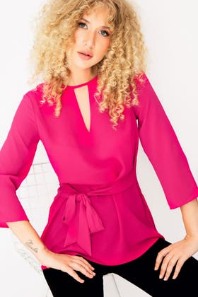 PINK TIE FRONT WOVEN BLOUSE
