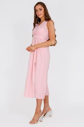 PINK Wrap Waist Split Thigh Maxi Dress