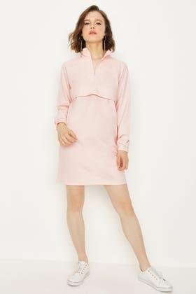 PINK ZIP NECK POCKET FRONT SWEAT DRESS