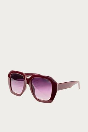 GREY Acrylic Deep Polygon Shape Sunglasses