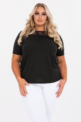 BLACK Plus Lace detail t shirt