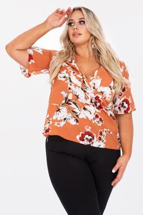 ORANGE Plus Wrap over floral blouse