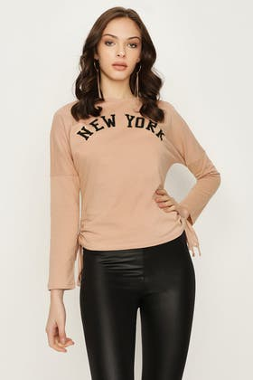 PRALINE NEW YORK RUCHED SIDE LONG SLEEVE