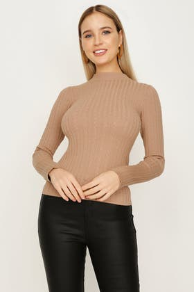 PRALINE WIDE RIB AND CABLE FUNNEL NECK JUMPER