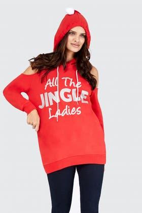 RED ALL THE JINGLE LADIES HOODIE