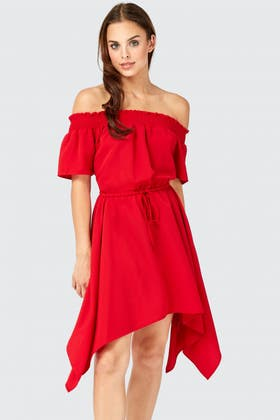 RED BARDOT HANKY HEM DRESS