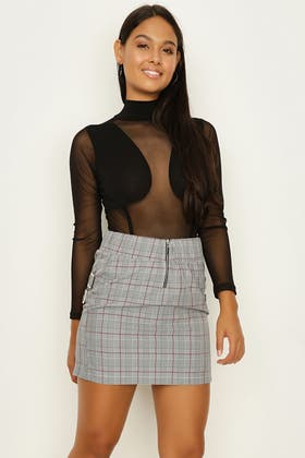 RED BUCKLE SIDE CHECK MINI SKIRT