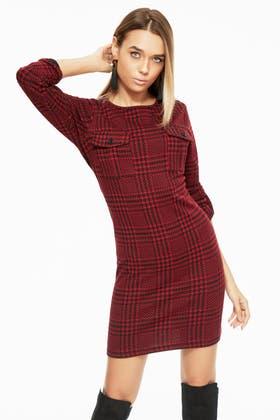 RED CHECK JACQUARD DOUBLE POCKET SHIFT DRESS