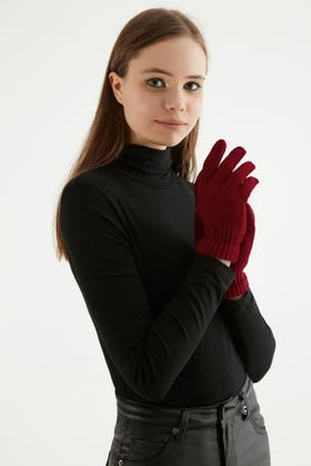 RED CHENILLE GLOVES