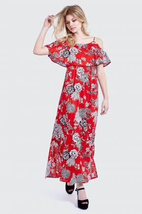 RED COLD SHOULDER FRILL MAXI DRESS