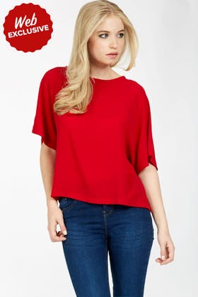 RED CREPE BATWING TOP