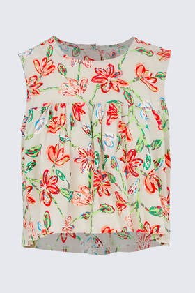 RED Cropped Floral Smock Top
